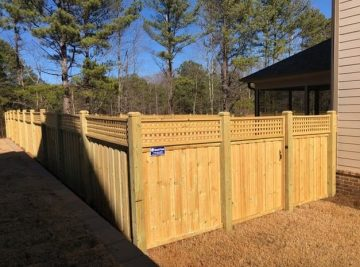 Tall Board on Board Privacy Fence with Square Lattice
