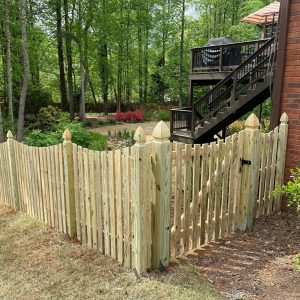 Wood Picket Fence With Gothic Posts